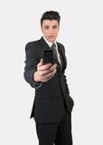 Молодой человек моды с мобильным телефоном стоковое изображение rf