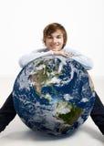 Молодой человек над землей Стоковое фото RF