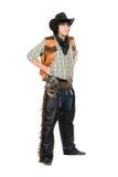 Молодой человек одетый как ковбой изолировано стоковая фотография rf