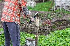 Молодой человек прерывая древесину Стоковая Фотография