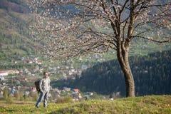 Молодой человек путешественника с рюкзаком на холме Стоковые Изображения