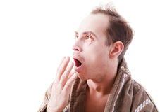 Молодой человек страдает от инсомнии Стоковые Изображения RF