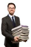 Молодой человек с книгами над белизной Стоковое Фото