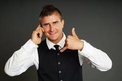 Молодой человек с телефоном Стоковое Фото