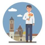 Молодой человек с цветками стоковые изображения