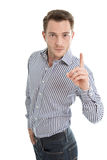 Молодой человек тряся перст на вас изолировал на белой предпосылке Стоковое Фото