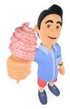 молодой человек 3D в шортах с конусом мороженого Стоковое Фото