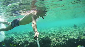Молодой человек Snorkeling на красочном рифе в Красном Море, Египте сток-видео