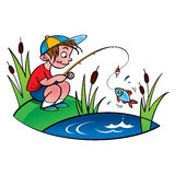 Молодой fisher иллюстрация штока