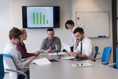 Молодые бизнесмены группы на встрече команды на современном офисе Стоковые Фото