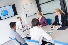 Молодые бизнесмены группы на встрече команды на современном офисе Стоковая Фотография