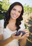 Молодые виноградины рудоразборки взрослой женщины в винограднике Стоковая Фотография