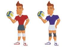 Молодые волейболисты шаржа Характер вектора Стоковые Фото