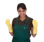 Молодые женские перчатки Gardner нося стоковое изображение rf