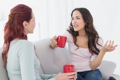 Молодые женские друзья наслаждаясь болтовней над кофе дома Стоковое фото RF