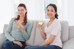 Молодые женские друзья с бокалами дома Стоковые Изображения RF