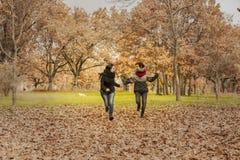 Молодые женщины бежать в парке над полем вполне листьев Aut Стоковое Фото
