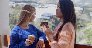 Молодые женщины беседуя на под открытым небом патио Стоковые Фото