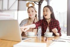 Молодые женщины выпивая кофе и используя компьтер-книжку в кафе на встрече на обеде Стоковая Фотография