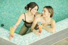 Молодые женщины в бассейне Стоковое Изображение