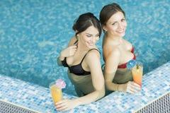 Молодые женщины в бассейне Стоковые Фотографии RF