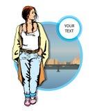 Молодые женщины в вскользь одежды на предпосылке города Стоковые Фотографии RF