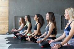 Молодые женщины в занятиях йогой, ослабляют представление раздумья Стоковое Изображение RF
