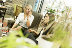 Молодые женщины в кафе Стоковые Изображения