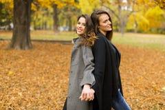 Молодые женщины в парке осени Стоковое Изображение RF