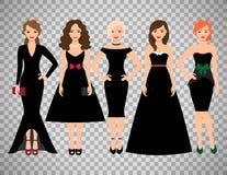 Молодые женщины в различных черных платьях иллюстрация вектора