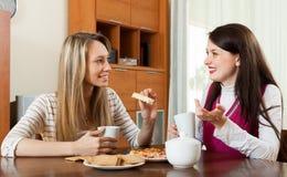 Молодые женщины злословя и выпивая чай Стоковые Фотографии RF