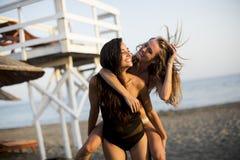 Молодые женщины имея потеху на пляже Стоковое Изображение RF