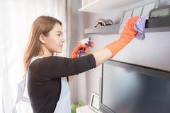 Молодые женщины очищая дома, концепция уборки Стоковое Изображение RF