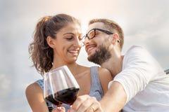 Молодые здравицы фермеров пар в их винограднике Стоковая Фотография RF