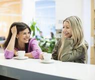 Молодые коммерсантки усмехаясь на таблице столовой Стоковые Изображения
