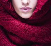 Молодые милые губы женщины в свитере и шарфе всем Стоковое Изображение RF