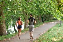 Молодые пары бежать в раннем утре на парке стоковые изображения rf