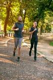 Молодые пары бежать на jogging следе через лес Стоковые Фото