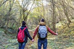 Молодые пары вне для прогулки в лесе Стоковая Фотография RF