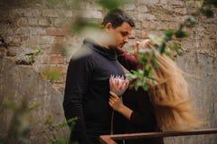Молодые пары в парнике не смотря в камере Стоковое Изображение
