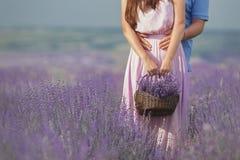 Молодые пары в полях лаванды стоковые фотографии rf