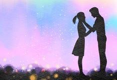 Молодые пары в силуэте влюбленности на предпосылке акварели римско иллюстрация вектора
