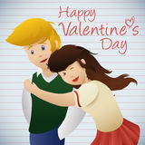 Молодые пары в школе, иллюстрация В-влюбленности вектора Стоковая Фотография RF
