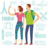 Молодые пары на каникулах делая фото собственной личности Стоковая Фотография