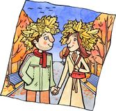 Молодые пары на прогулке в осени паркуют Стоковое Изображение