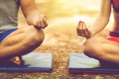 Молодые пары ослабляя в йоге представляют в зеленой природе Стоковые Изображения RF