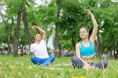 Молодые пары размышляя на зеленой траве Стоковая Фотография