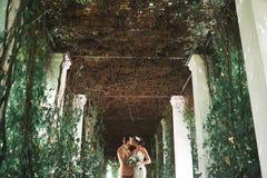 Молодые пары свадьбы наслаждаясь романтичными моментами снаружи стоковая фотография rf