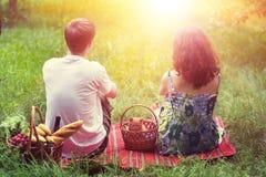 Молодые пары с котенком в корзине на пикнике Стоковые Фотографии RF
