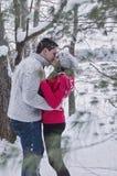 Молодые пары целуя outdoors в зиме Стоковые Фото